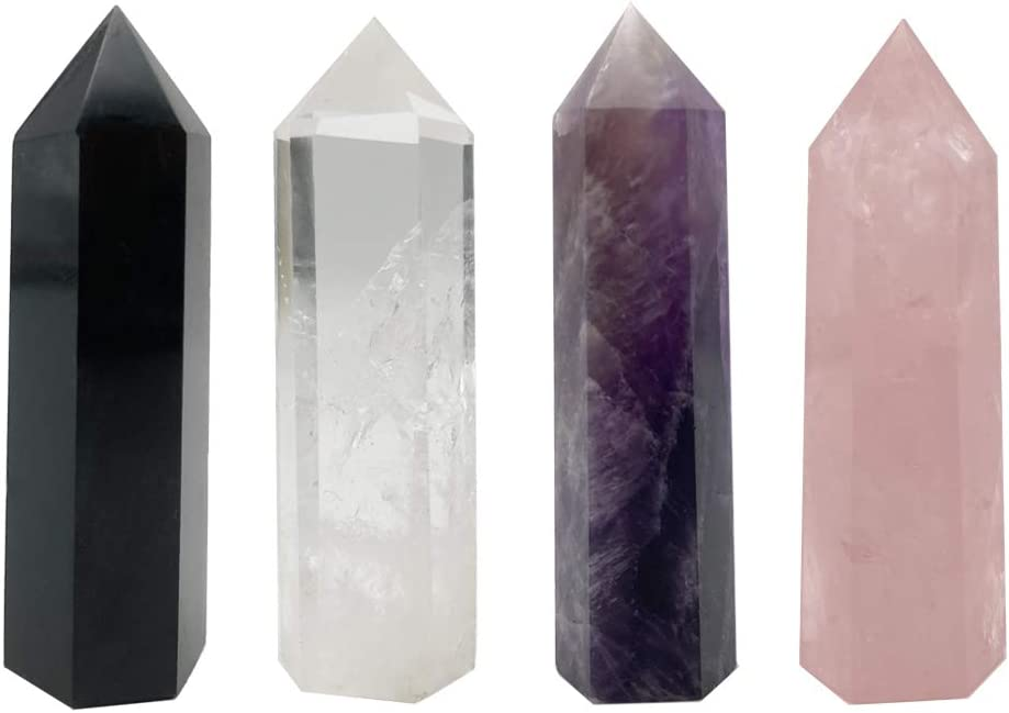 "EIGHTY87SEVEN Crystal Healing Wand Set, Natural Prism Reiki Decor, 1.9""-2.5"" 4pcs"