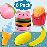 JingStyle 6 Pack Squishies Slow Rising Jumbo Toys Hamburger Peach Banana Mango Ice Cream Fries Fruit Play Food Squishy Stress Reliever Cream Scented Cuddly Squeeze Toy Holiday for Girls Boys