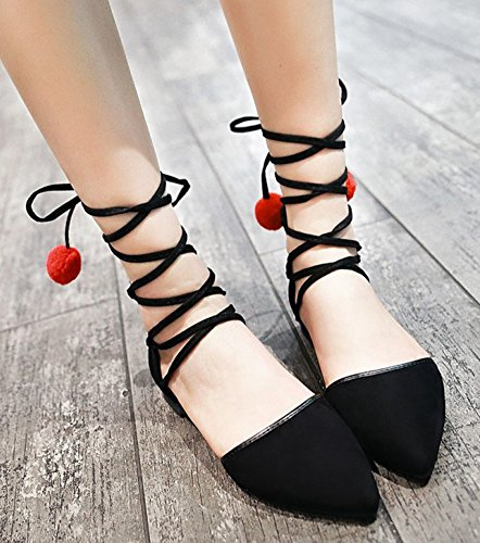 Aisun Womens Cute Pompoms Pointed Toe Dressy DOrsay Gilly Tie Ankle Wrap Flats Shoes Gladiator Sandals Black eyysuE
