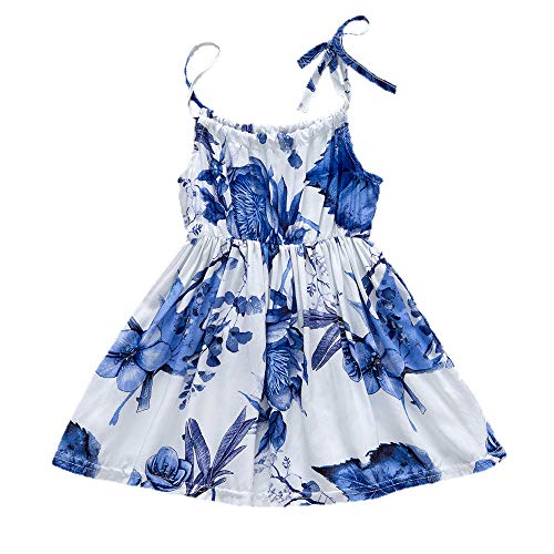YOUNGER TREE Toddler Baby Girls Summer Floral Dress Sleeveless Princess Party Casual Holiday Dress Beach Sundress (Blue, 12-18 ()