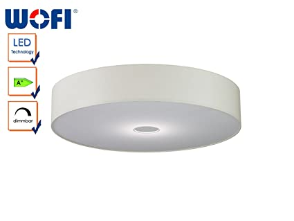 Moderne LED Deckenleuchte TOULOUSE, dimmbar, Stoffschirm champagner ...