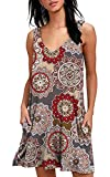 YeeATZ Women's Summer Casual T Shirt Dresses Beach Cover up Tank Swing Dress Pockets Floral Brown L