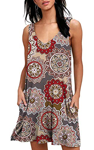 YeeATZ Women's Summer Casual T Shirt Dresses Beach Cover up Tank Swing Dress Pockets Floral Brown XXL