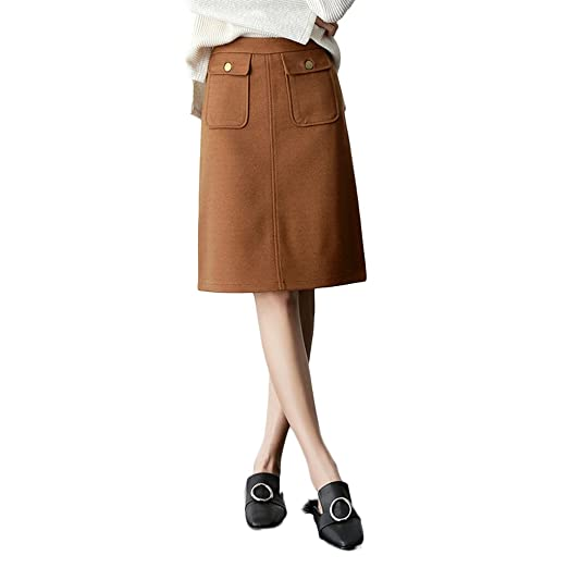 LINSYT Falda lápiz de cintura alta de mujer de moda de invierno ...