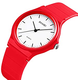 Simple Design Analog Watch with Red Resin Band for Men/Women Student Watches (Color: Red)