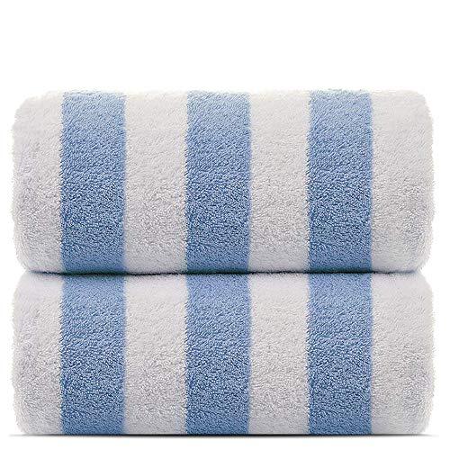 (Towel Bazaar 2-Pack Turkish Cotton Cabana Striped Beach/Pool/Bath Towel (Blue, 30