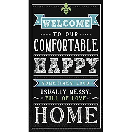 Amscan Happy Home Guest Towels Party Disposable Tableware and Supply, Paper, 2 8'' x 4'', Pack of 16. Childrens Napkins, 2 Ply