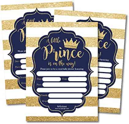 25 Little Prince Baby Shower Invitations, Navy & Gold Sprinkle Invite for Boy, Modern Gender Theme, Cute Printed Fill or Write in Blank Printable Card, Vintage Unique Coed Party Stock Paper Supplies