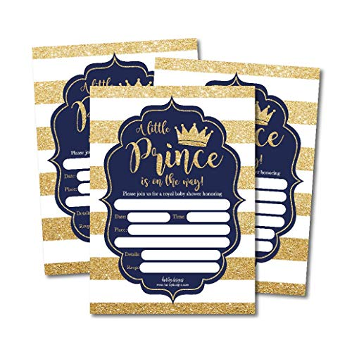 25 Little Prince Baby Shower Invitations, Navy & Gold Sprinkle Invite for Boy, Modern Gender Theme, Cute Printed Fill or Write in Blank Printable Card, Vintage Unique Coed Party Stock Paper Supplies ()