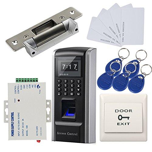 Bio huella dactilar y contraseña y RFID Security Kit de control de acceso y bloqueo de la puerta Strike + 110-240V fuente de alimentación by MENGQI-CONTROL