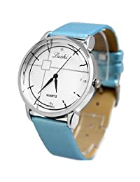 FW824D White Dial Light Blue Band PNP Shiny Silver Watchcase Women Fashion Watch