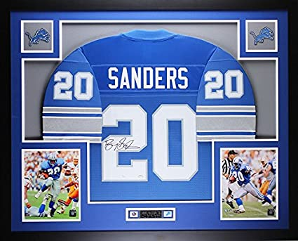 719b3a60c Barry Sanders Autographed Blue Lions Jersey - Beautifully Matted and Framed  - Hand Signed By Barry
