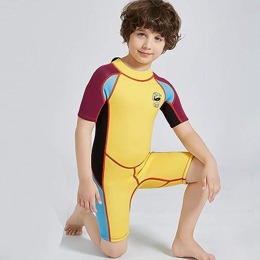 SXSHUN Combinaison de Plong/ée Manches Courts pour Enfant Fille Gar/çon One Piece Anti-UV Chaud Contre Le Froid