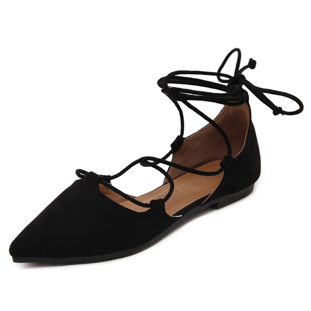 Meeshine Womens D'Orsay Pointy Toe Ankle Strap Wrap Ballet Flats Lace up Flat Shoes Black US 8