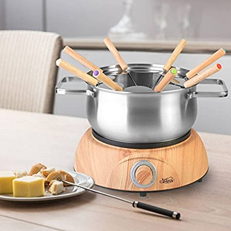 Artestia Electric Chocolate & Cheese Fondue Set, Serve 8 persons (Stainless Steel Pot, Wood Pattern Base) AR-89008