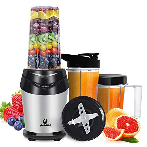 Posame Mini High Speed Smoothie Blender Single Serve Personal Blender for Shakes and Smoothies,Juices,Fruits,Nuts,Coffee Bean,Baby Food with 32 oz Portable Travel Bottles with Spout Lid,1000-Watt