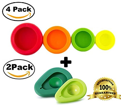 Contains 4 silicone food savers of the following sizes and colors: Extra Large-Red Large-Orange Medium-Green Small-Yellow Also contains Extra Large dark green and Medium lime green avacado savers These may be used to stretch around fruit and ...