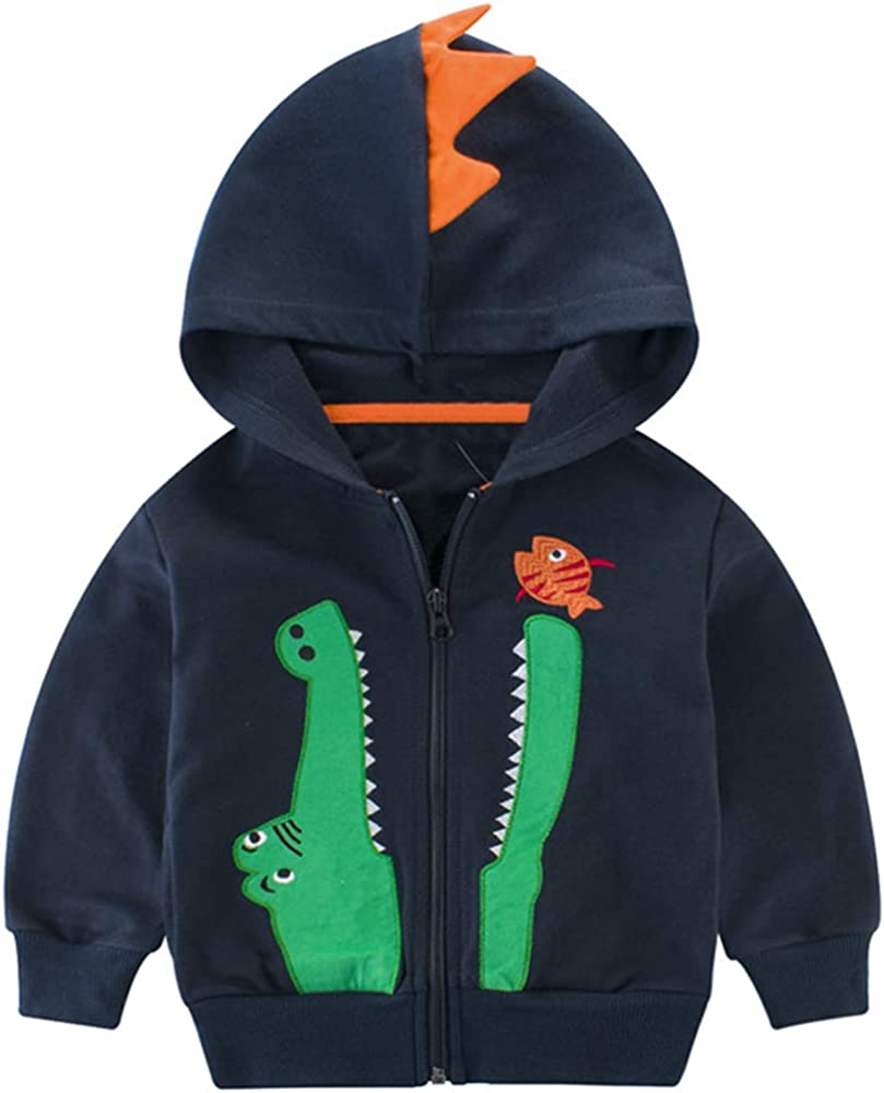 Baby Boys Full-Zip Hoodies Sweatshirt 2-7 Years Little Boys Long Sleeve Jacket Clothes Casual Zip-UP Hooded Sweatshirt