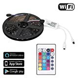 Cheap TNP LED Strip Lights w/Remote Wifi Controller Kit – Wireless Control LED Rope Ribbon GRB Tape IP65 Water-Resist 12V Cuttable SMD 5050 Support Alexa Echo Google Assistant Smartphone (16.4FT/5M)