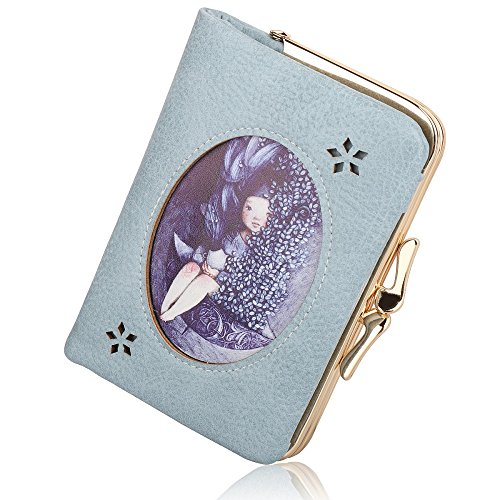 Women's Wallet Vintage Cute Pattern Leather Card Holder Bifold Coin Purse (Blue)