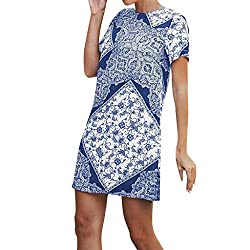 Dimanul Dress For Women Sexy Casual O Neck Patchwork Short Sleeve Casual Mini Dress Summer Party Dress Blue