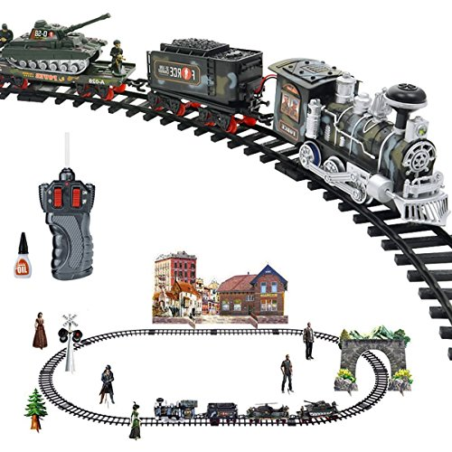 lled Military Simulation RC Train Set, Battery Operated Ready to Play Steam Locomotive with LED Lights, and Sound (Bonus Figurine Pack Included) ()