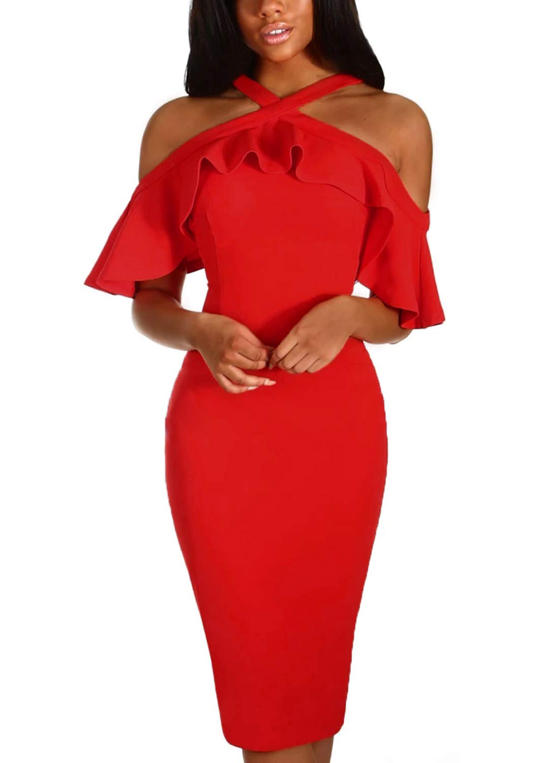 AlvaQ Womens Laides Sexy Ruffle Sleeve Frill Halter Criss Cross Cold Shoulder Party Cocktail Wedding Bodycon Midi Knee Length Dress Red Small