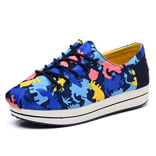 8c4eb39133e5d TIOSEBON Women s Floral Canvas Elastic Platform Shoes Lace-up Low Top  Sneakers