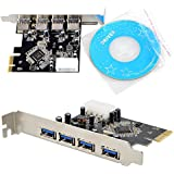 SLLEA USB 3.0 PCI Express PCI-E Card HUB Chipset Adapter 4 Port with Power Port