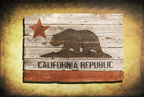 California Republic flag, Barn Wood Edition, Wooden, vintage, art, distressed, weathered, recycled, California flag art. Repurposed by Chris Knight Creations