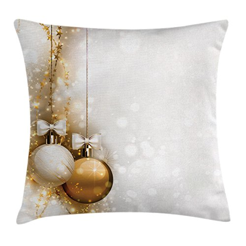 Ambesonne Christmas Throw Pillow Cushion Cover, Religious Rituals Featured Xmas Baubles with Ribbon Holiday Wish Artwork Image, Decorative Square Accent Pillow Case, 18 X 18 Inches, White ()
