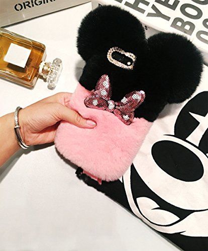 iPhone 8 Plus Case, iPhone 7 Plus Girls Fur Case ,Bling Diamond Cute Mouse Bowknot Winter Soft Warm Faux Bunny Hair Fur Fuzzy Plush Crystal Cute Case Back Cover for ()