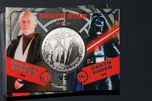 2015 Star Wars Chrome Perspectives Jedi vs. Sith Trading Cards Silver Medallion Oni-Wan Kenobi vs. Darth Vader DEATH STAR Fight Poster Version