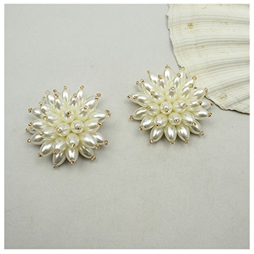 Douqu White Pearl Rhinestone Crystal Flower Shoe Clips Pair for Women Wedding Prom Party