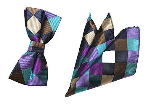 Men Purple Champagne Brown Silk Bowtie Set Cravat Tuxedo Plaid Colorful Bows Tie