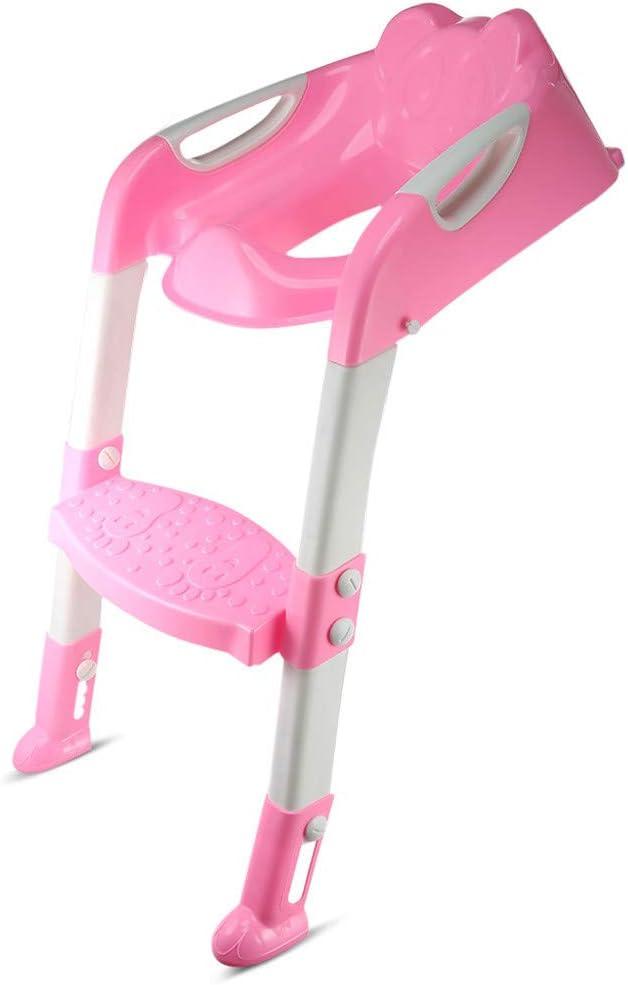 R/églable pour la Formation de Toilettes pour Enfant R/éducteur deau pour Enfants avec /échelle Souple Main Courante des Deux c/ôt/és Convient pour la Forme de V et U et O Si/ège de Toilette