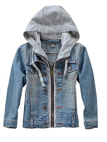 Mallimoda Kids Boys Girls Hooded Denim Jacket Zipper Coat Outerwear Denim Size 10 - Denim Coat Jacket