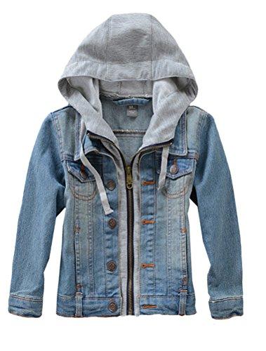 Mallimoda Kids Boys Girls Hooded Denim Jacket Zipper Coat Outerwear Denim Size 10
