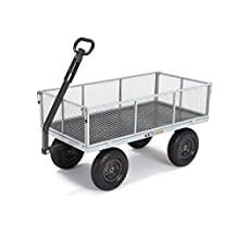 Gorilla Carts GOR1001-COM Heavy-Duty Steel Utility Cart with Removable Sides, 1,000-Pound Capacity, Gray