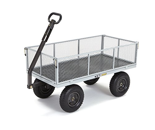 Gorilla Carts GOR1001-COM Heavy-Duty Steel Utility Cart with Removable Sides, 1000-lbs. Capacity, Gray Lawn Tractor Wagon