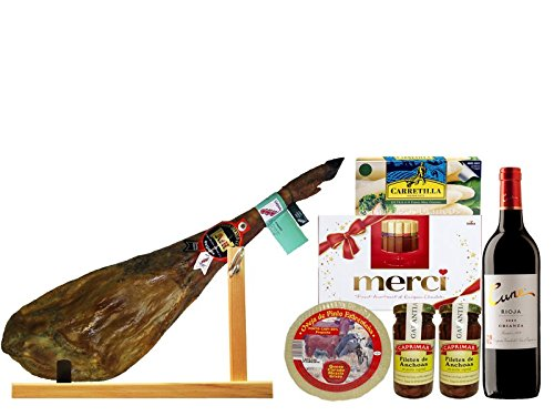 LOT iberischen Schinken, Käse, Sardellen, Wein Cune, Schokolade Merci, Esparragos Sackkarre und Schinkenmesser in Geschenkbox
