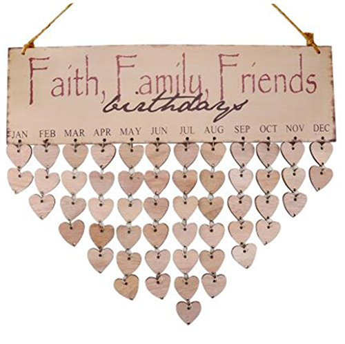 Flormoon Family Birthday Board Wooden Plaque Faith Friends Calendar Board Friend Birthday Reminder for Home Decoration]()