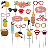 LeeSky 21pcs Luau Hawaii Photo Booth Props Kit,for Hawaiian,Holiday,Tropical,Tiki,Beach,Wedding,Summer Party Decoration Supplies
