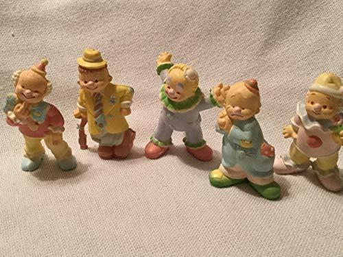Set of 5 Miniature Pastel Ceramic Clowns