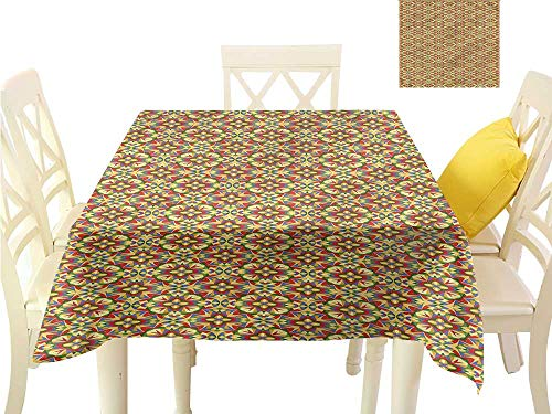 WilliamsDecor Small Tablecloth Geometric,Kaleidoscopic Palette Waterproof Table Cloth W 50