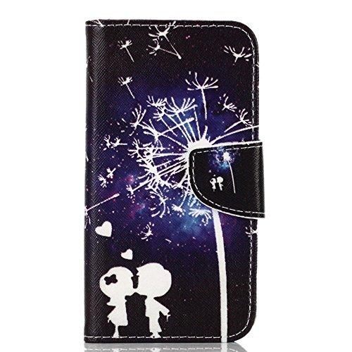 PowerQ Bunte Muster Reihe PU Artificia-Leder Tasche Holster Hülle Etui Fall Case Cover < Dandelion sky child kiss | für IPhone 5S 5 5G SE IPhone5S IPhoneSE >          mit schönen hübschen Muster Druck Detailze