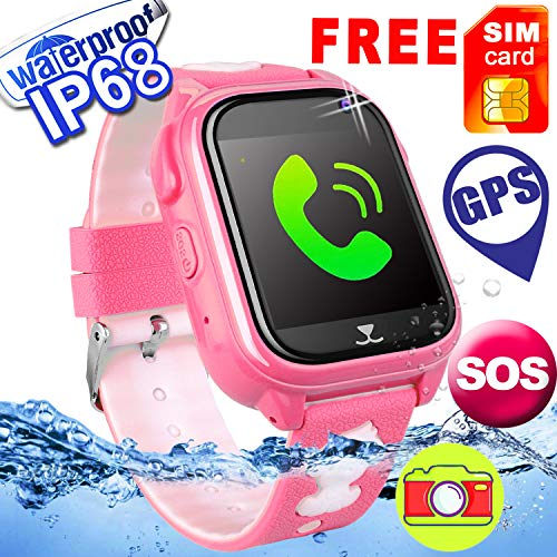 [Free Speedtalk SIM]Kids Smart Watch GPS Tracker Phone IP68 Waterproof Touch Screen Camera Smartwatch SOS Game Anti-lost Sport Outdoor Holiday Back School Birthday Gifts for Girls Boys for IOS/Android