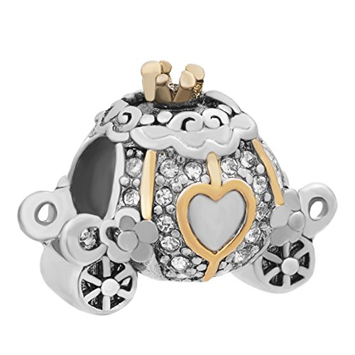 JewelryHouse Pumpkin Carriage Halloween Cinderella Golden Heart Bead Charms For Bracelet -