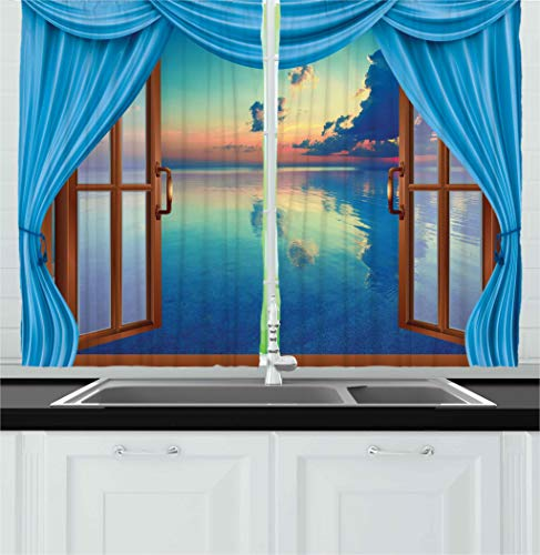 - Ambesonne Kitchen Decor Collection, Window View of the Ocean Sea Image Sunset Modern Home Cafe Decor Scenery Clouds Sky, Window Treatments for Kitchen Curtains 2 Panels, 55X39 Inches, Blue Aqua Brown