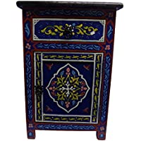 Handpainted Moroccan Moucharabi Design Nightstand in Cobalt Blue